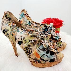 Chinese Laundry Peep toe Ruffled heels
